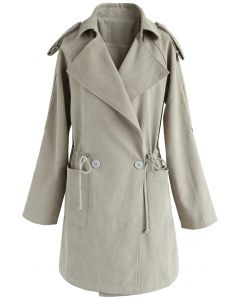 Sugary Breeze Faux Suede Trench Coat in Sand