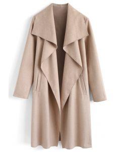 羊毛混紡開襟大衣-沙色