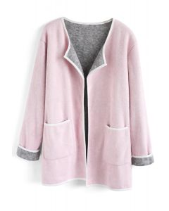 Comfy Contrast Open Front Knit Coat in Pink