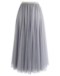 薄紗疊層中長裙- 灰色