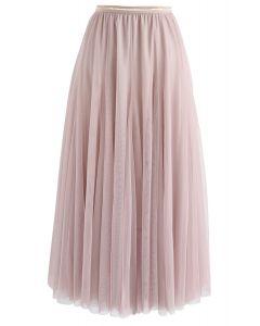 薄紗疊層中長裙- 粉色