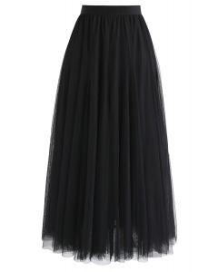 薄紗疊層中長裙- 黑色
