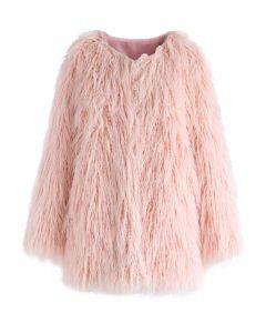 仿皮草外套-粉色