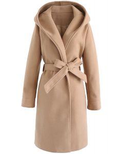 長款連帽綁帶大衣-棕褐色