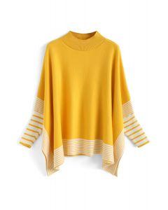 黃色條紋披肩針織衫