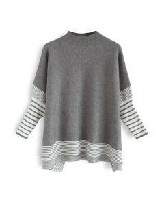 灰色條紋披肩針織衫