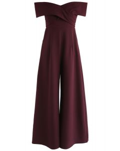 Eternal Sweet Cross Breast Off-Shoulder Jumpsuit in Wine