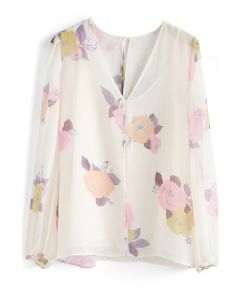 Lightsome Roses Sheer Chiffon Top in Cream