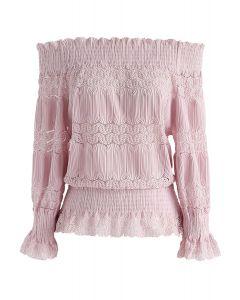 彈力一字肩上衣 - 粉色