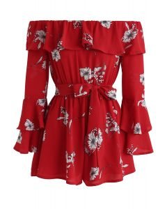 Enchanting Floral Off-Shoulder Playsuit in Red