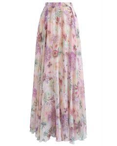 太陽花雪紡半身裙 - 粉色