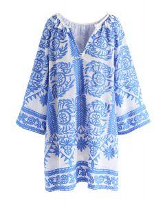 藤蔓刺繡連身裙 - 藍色