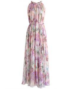 太陽花雪紡掛脖連身裙 - 粉色