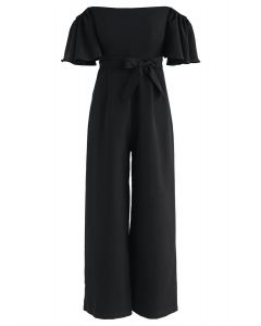 Find Your Bliss Off-Shoulder Jumpsuit in Black
