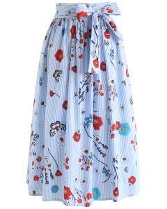 Floral Scene with Stripes Midi Skirt in Blue