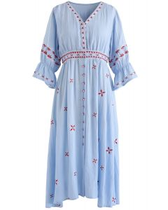 Opposites Attract V-Neck Embroidered Dress