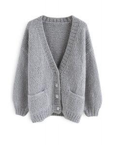 手工針織開衫 - 灰色