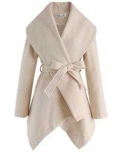 绑带披肩外套 - 米白色