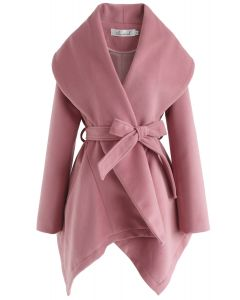 绑带披肩外套 - 粉色