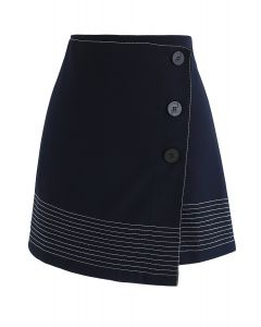 Work it Out Flap Bud Skirt in Navy