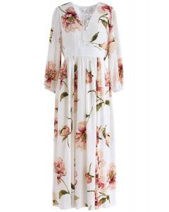 Sweet Things Floral Chiffon Maxi Dress in Cream