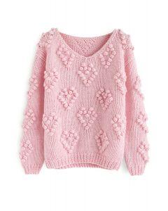 線球裝飾V領套頭衫 - 粉色