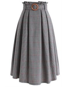 Wannabe Belted Houndstooth A-Line Skirt