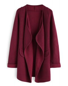 Just Knitted Open Coat in Wine