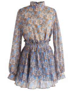 Brilliance Floral Chiffon Top and Skort Set in Blue
