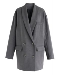 Right For Me Double-Breasted Blazer in Grey