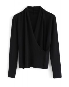 Wrap Up the Moment Knit Top in Black
