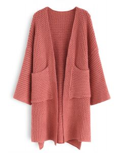 All My Love Chunky Knit Longline Cardigan in Coral