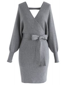 Modern Allure Wrapped Knit Dress in Grey