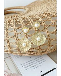 Gold Natural Seashell Pearls Drop Earrings