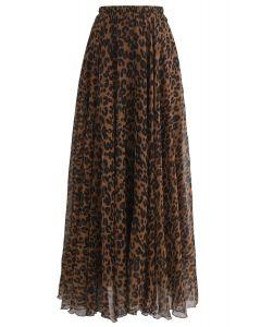 豹紋水彩半身裙--棕色