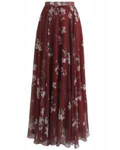 Plum Blossom Watercolor Maxi Skirt in Wine