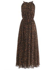 豹紋水彩長連衣裙,棕色