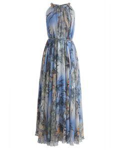 Bamboo水彩長連衣裙藍色