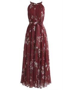 梅花水彩長連衣裙--酒紅色