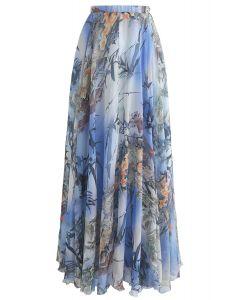 竹子水彩長裙在藍色