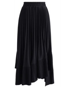 Here with You Asymmetric Pleated Skirt in Black
