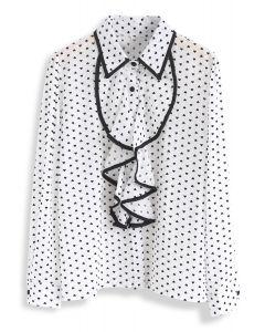 這是所有在心臟印花雪紡襯衫