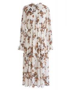 Roll with It Floral Chiffon Dress in Cream