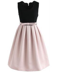 蝴蝶結無袖拼接連衣裙