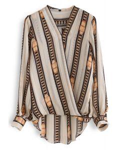鏈條反應條紋包裹淺褐色的上衣