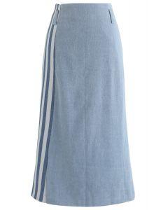 回到條紋鉛筆牛仔裙