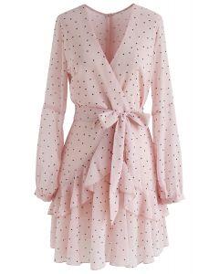 粉色波點綁帶連衣裙