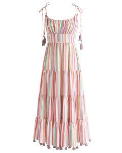 彩虹條紋長連衣裙