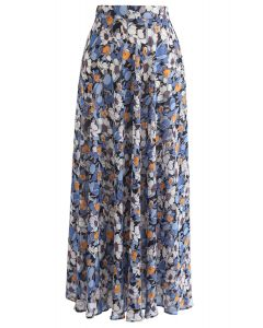 花季雪紡長裙藍色