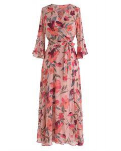 百萬花卉夢想印花雪紡連衣裙腮紅